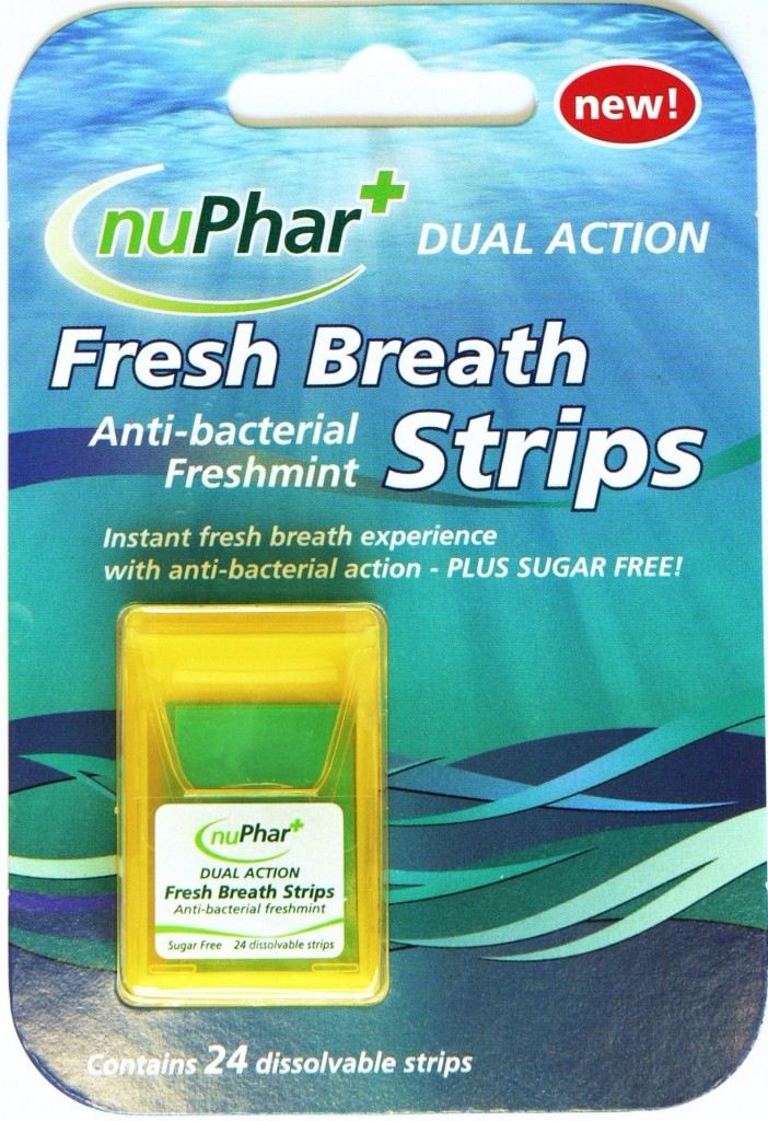 Image of a packet containing 24 freshmint antibacterial sugar free Fresh Breath strips